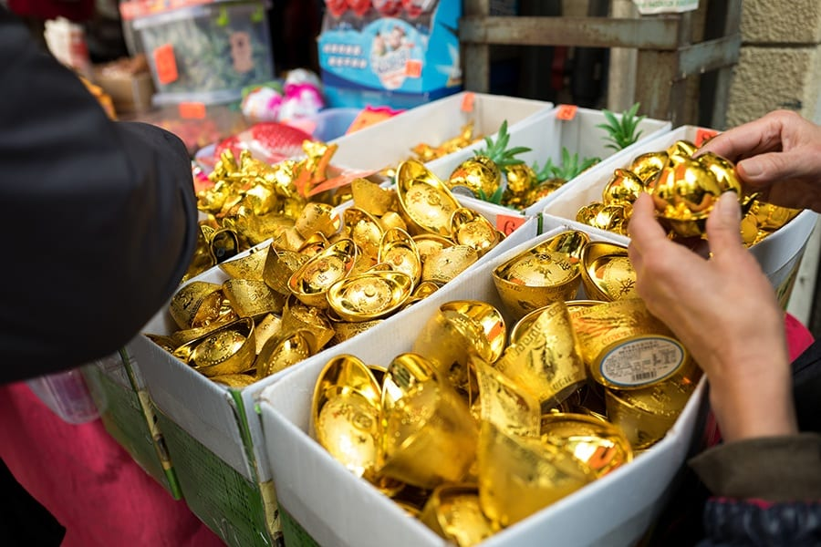 Chinese new year in Hong Kong gold ingots