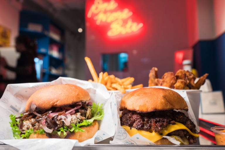 American diner Honbo serves hot juicy burgers and crispy golden fries for meat lovers and vegans
