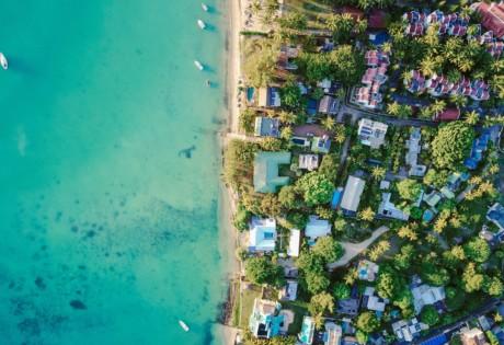 Mauritius beach aerial view