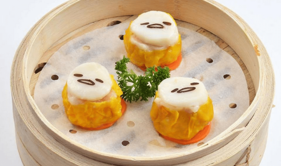 cute dim sum in Hong kong siu mai with faces