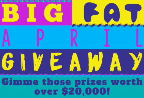 big fat april giveaway coloured text