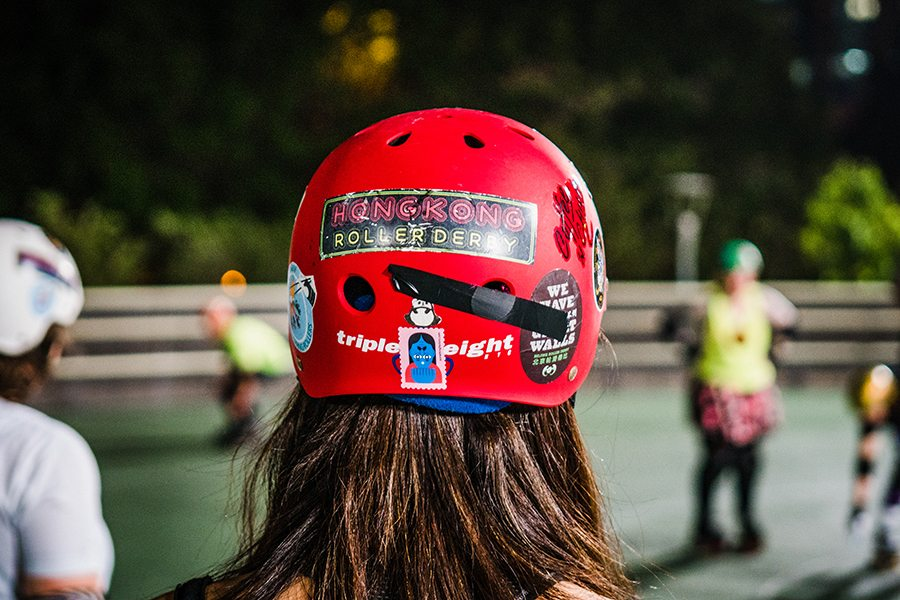 hong kong roller derby red skate helmet