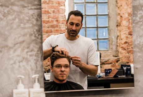 Selvedge barbers man getting haircut