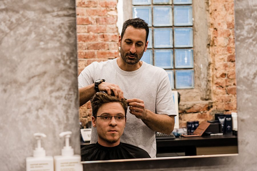 Short back and sides: Billy Clarke gets a haircut at Selvedge Barbers, the coolest barber shop in town
