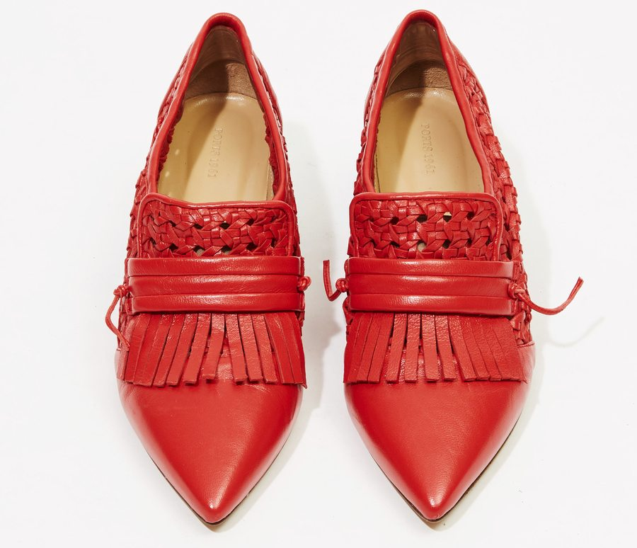 tomato red fashion ports 1961 slip on red shoes