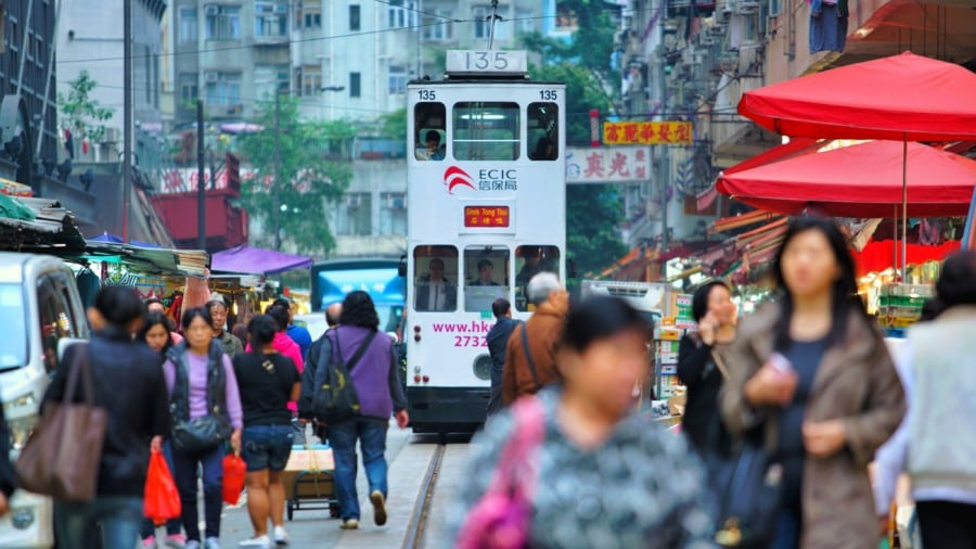 Hong Kong tram tour image of tram at Chun Yeung Street Wet Market