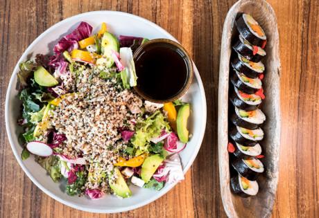 The Joomak Korean restaurant vegan vegetarian food salad and kimbap
