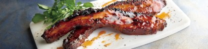 Morton's the Steakhouse Nueske's bacon steak with peach bourbon glaze