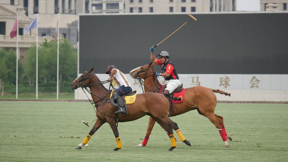 Andrew Leung playing polo
