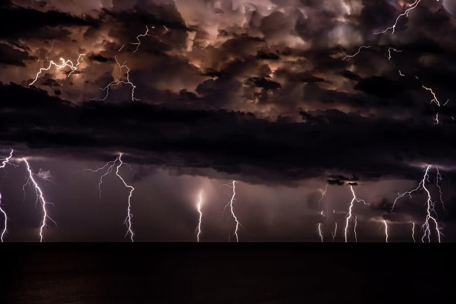 Hong Kong thunderstorms lightning