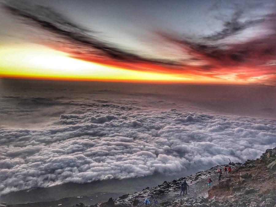Climbing Mount Fuji clouds