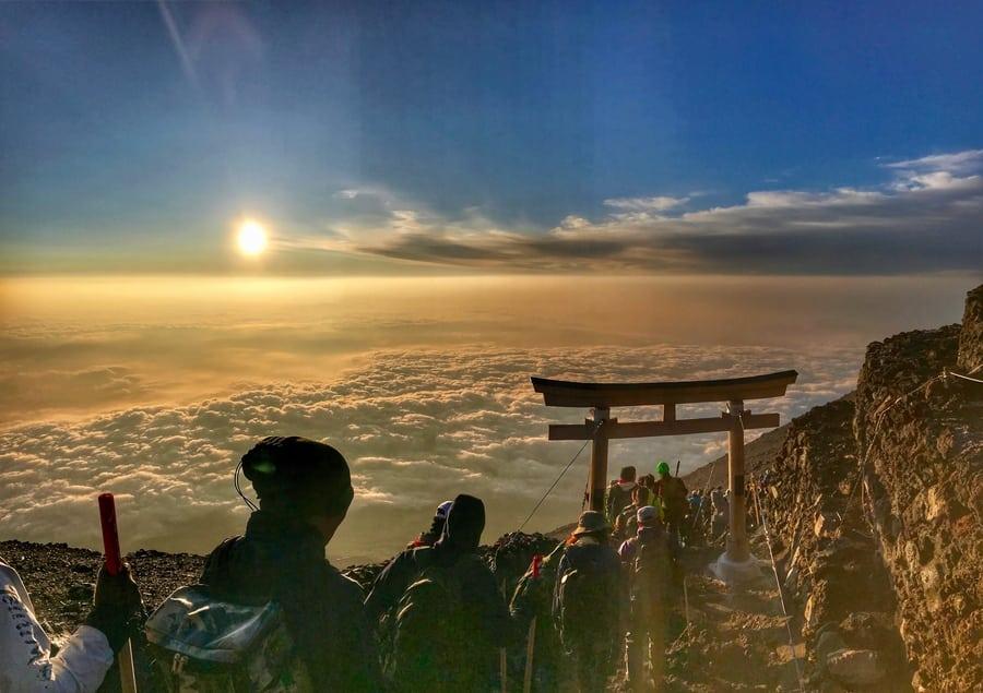 climbing Mount Fuji sunrise