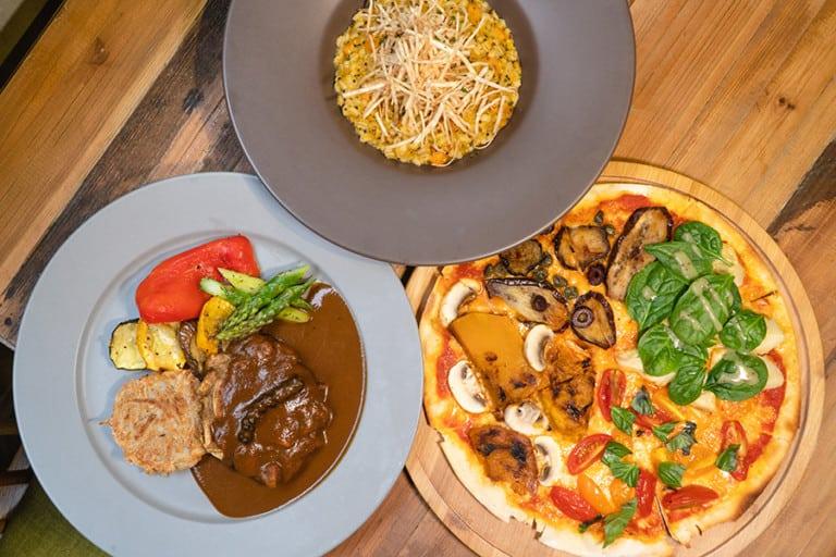 Sample scrummy vegan pizza and mushroom steaks at POP Vegan in SoHo