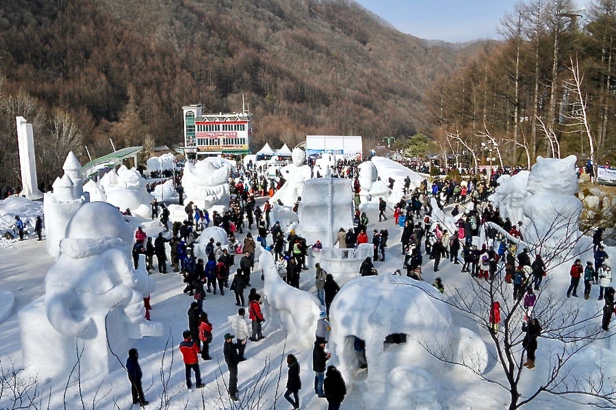 festivals in south korea Taebaek snow festival