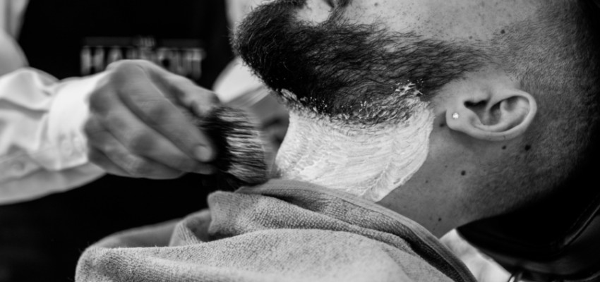 mens grooming beard foam and shave