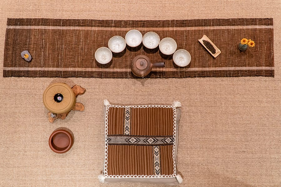 resham daswani spiral space tea set up