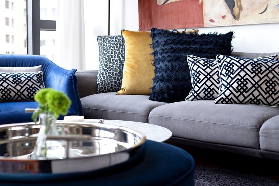 small apartment interior design cushions