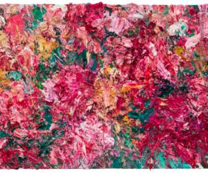 Mystified Lv Shanchuan art exhibitions in Hong Kong Blossom-繁花-oil-and-mixed-media-on-canvas-150x220cm-diptych