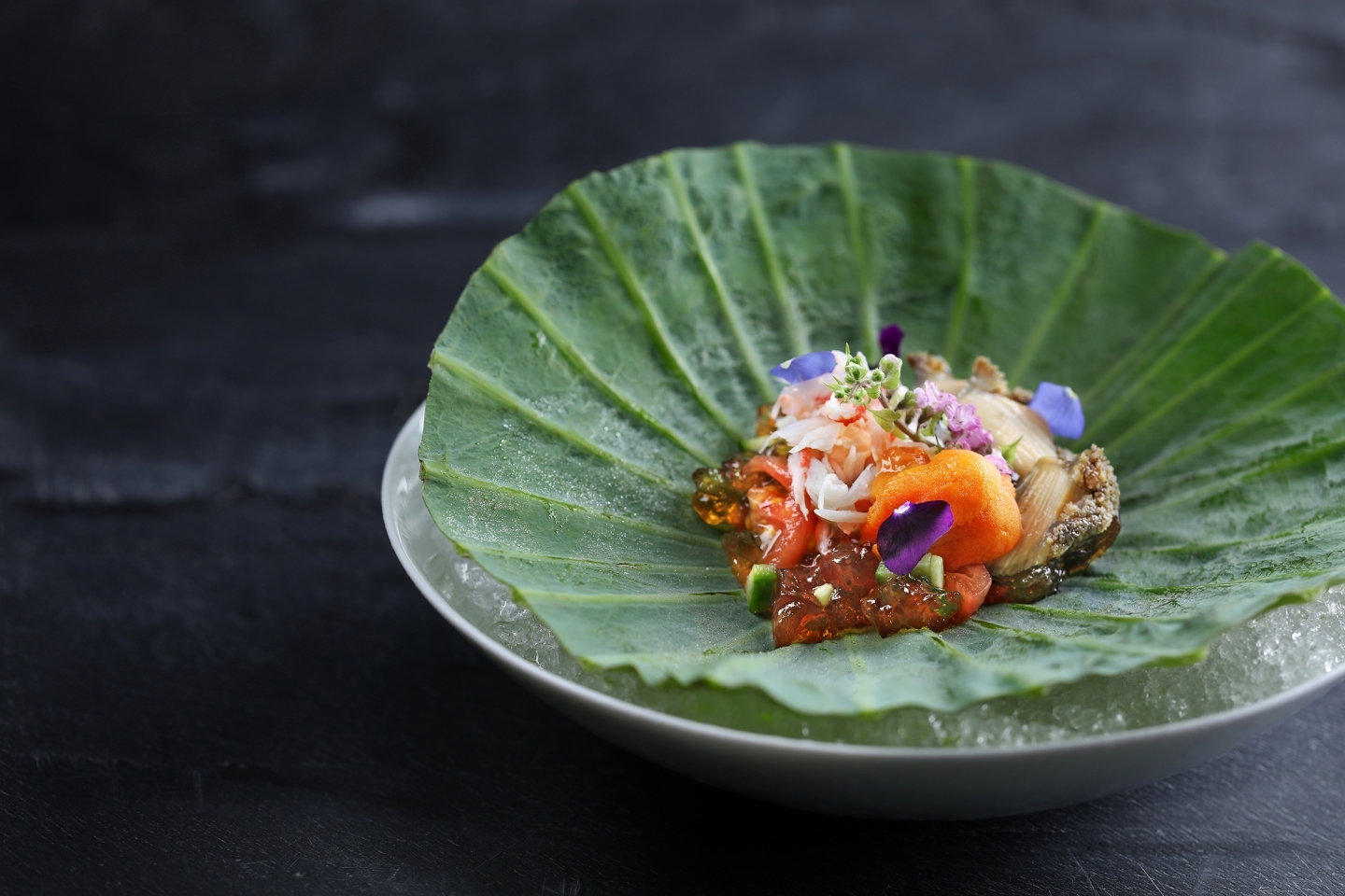 The Mira | Hotel brunches in Hong Kong | seafood dish on a leaf