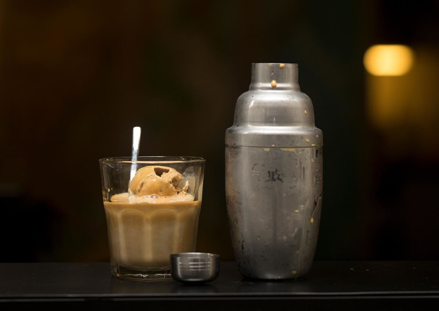 coffee with ice cream and cocktail shaker at Kaffe new cafe Hong Kong 2019