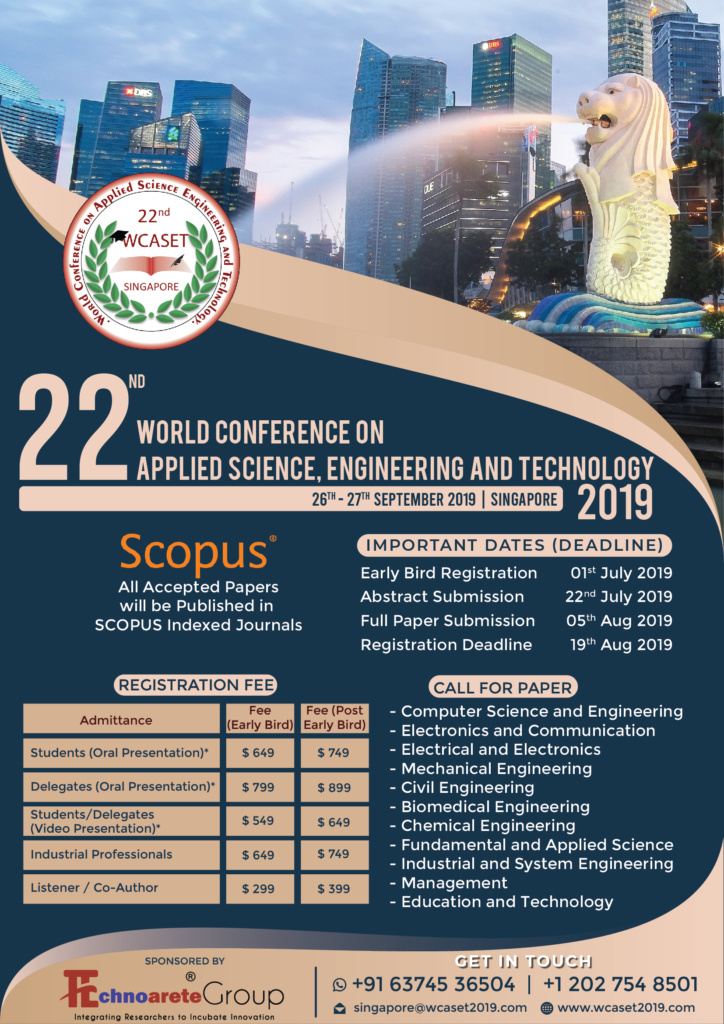 22nd World Conference on Applied Science, Engineering and Technology