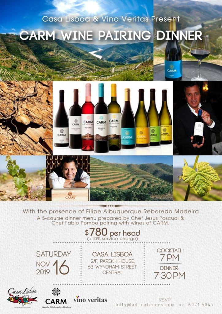 CARM Wine Pairing Dinner With the presence of Filipe Albuquerque Reboredo Madeira