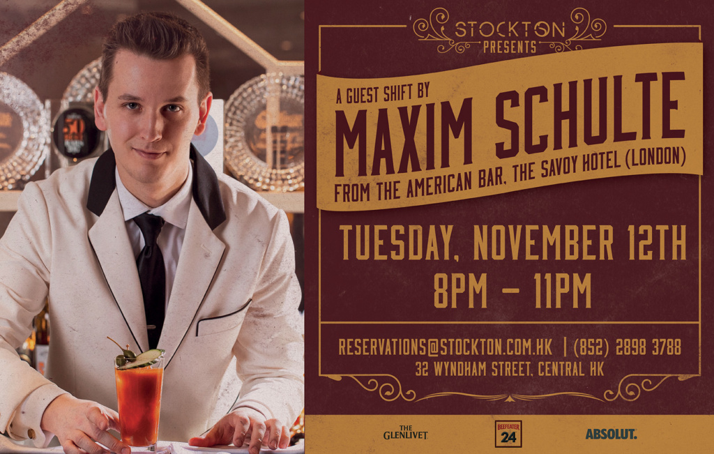 Guest Bartender Maxim Schulte (The American Bar, London) at Stockton on 12th November