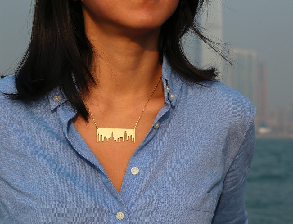 Simon RObin Hong KOng skyline necklace