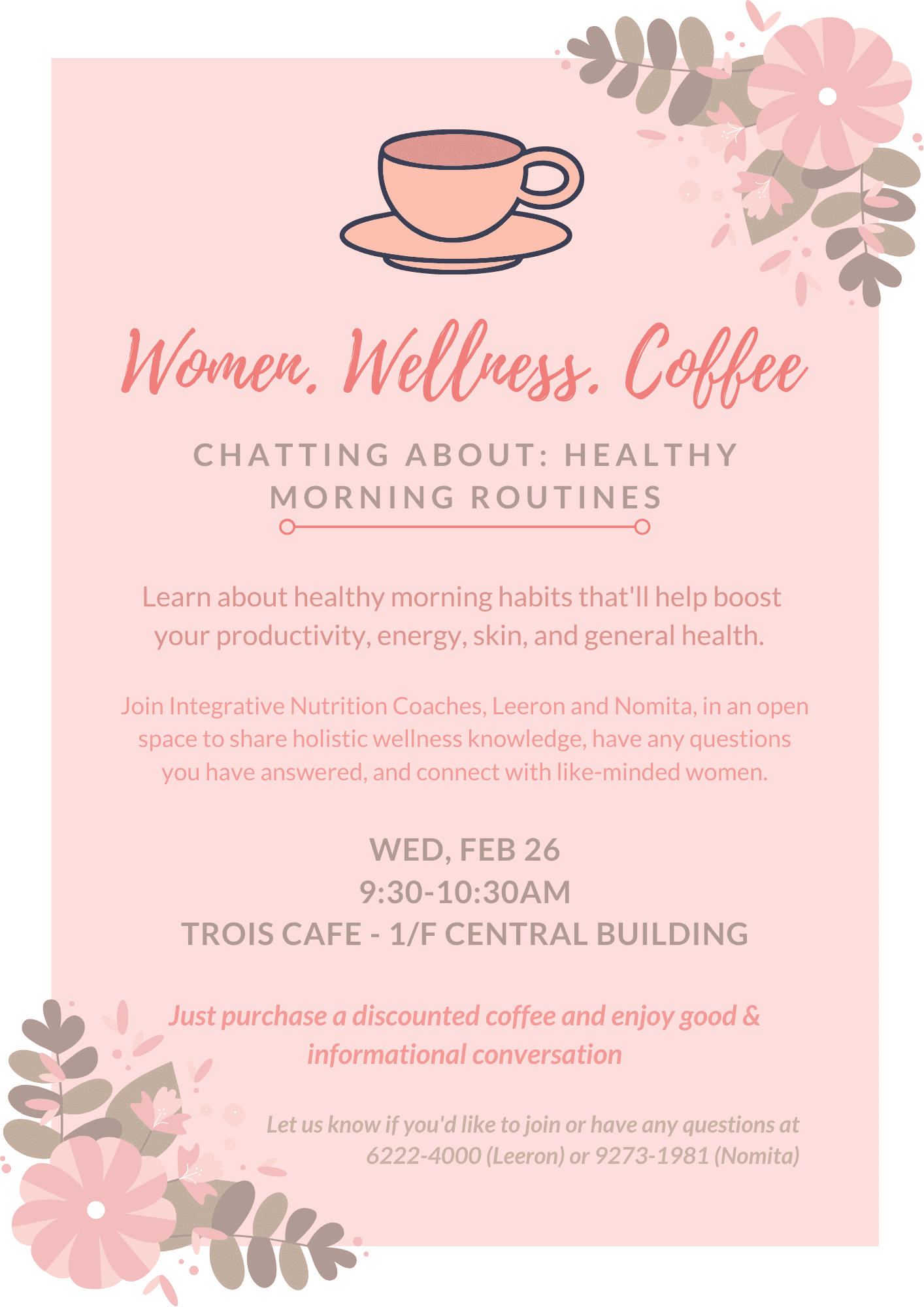 Women. Wellness. Coffee – Healthy Morning Routines for Improved Productivity, Energy, Skin.