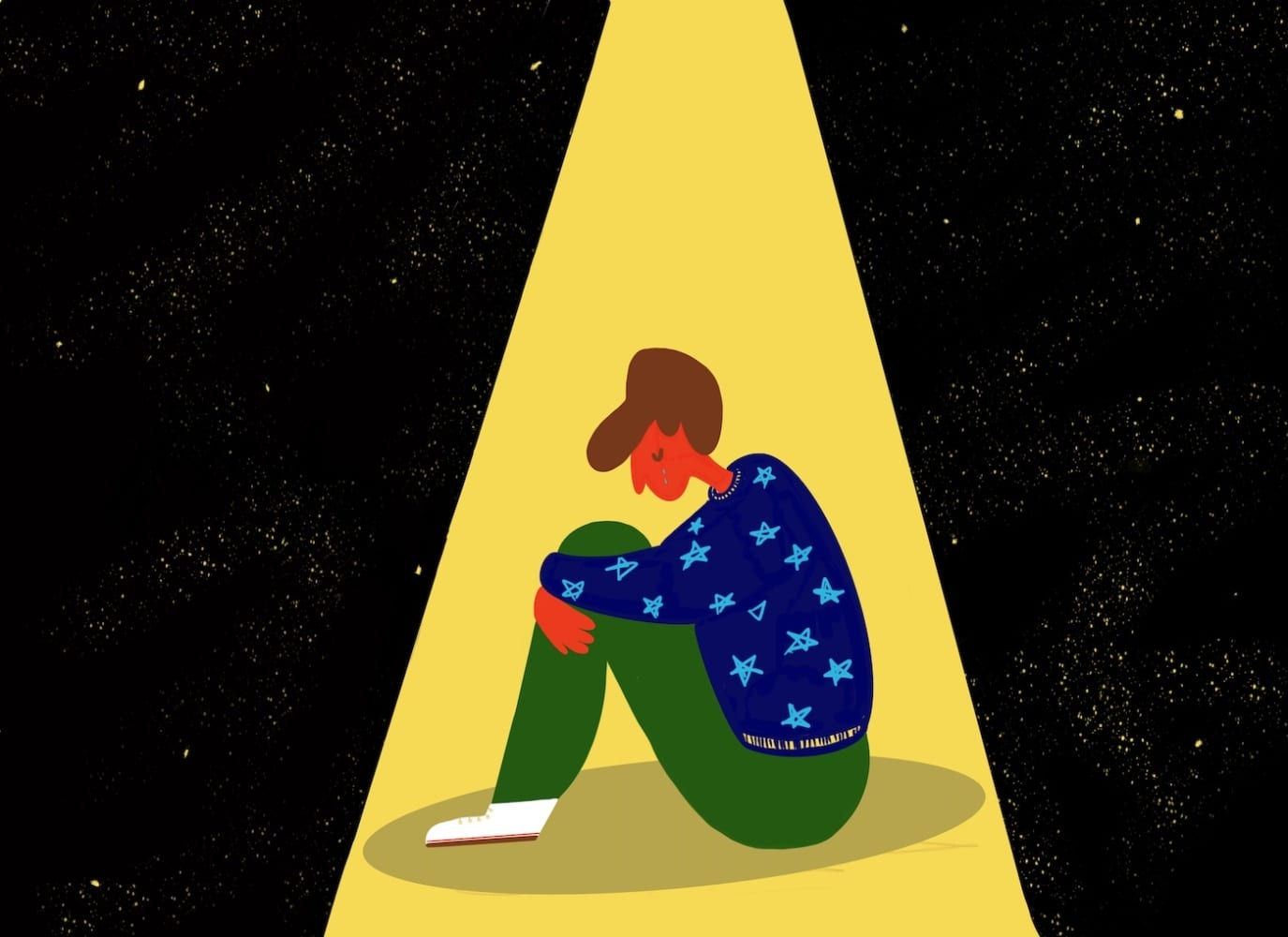 illustration man crying in darkness