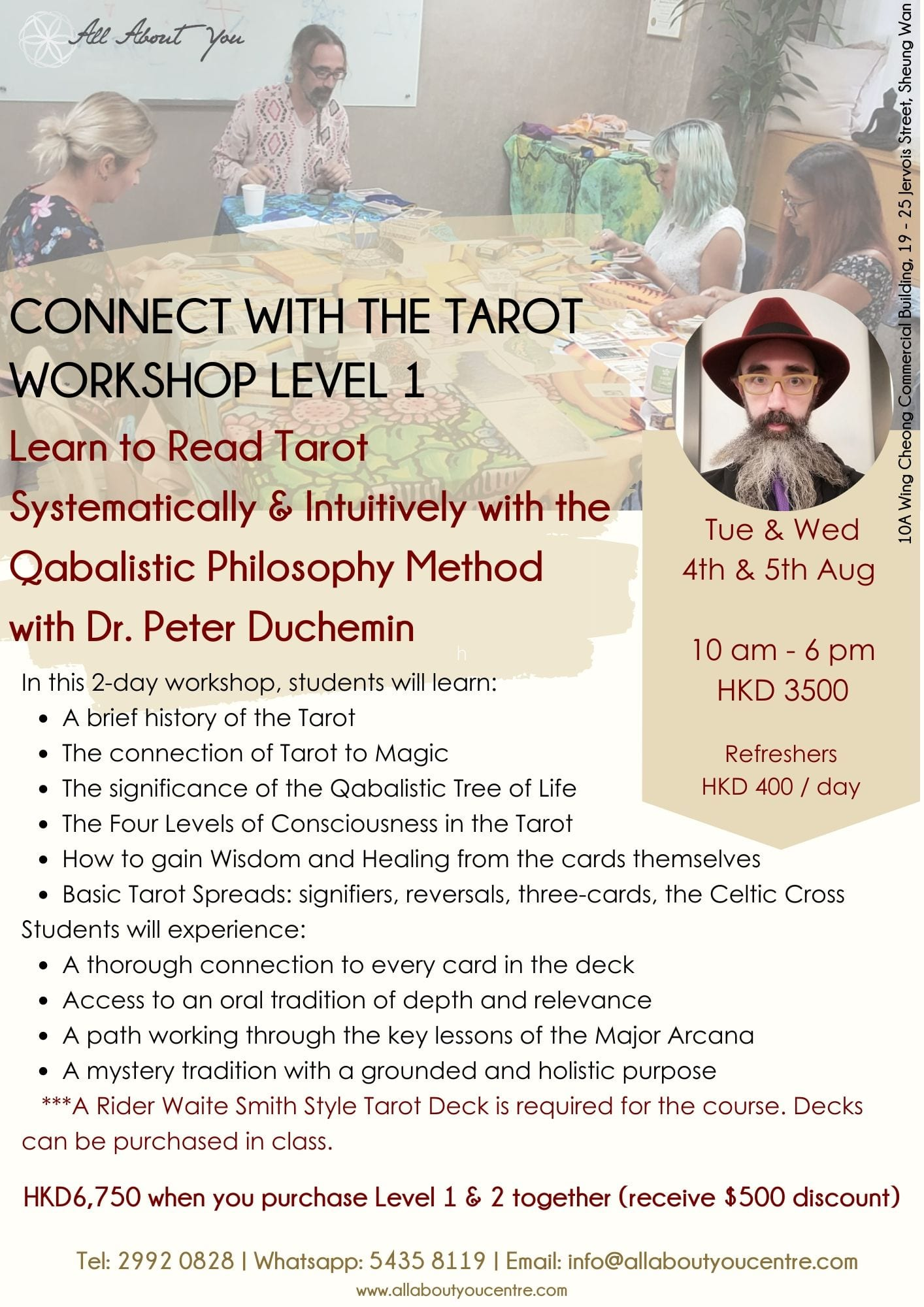 Level 1 Connect with the Tarot Workshop: Learn to Read Tarot Systematically and Intuitively with the Qabalistic Philosophy Method
