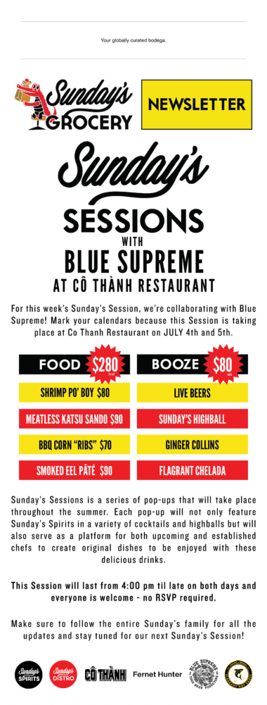 Sunday's Sessions with Blue Supreme at Co Thanh Restaurant