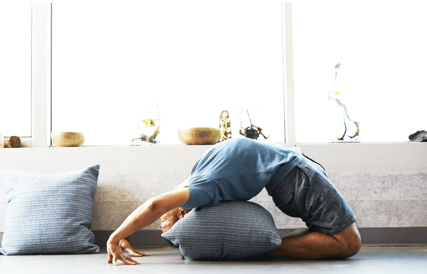 person doing at yoga at home