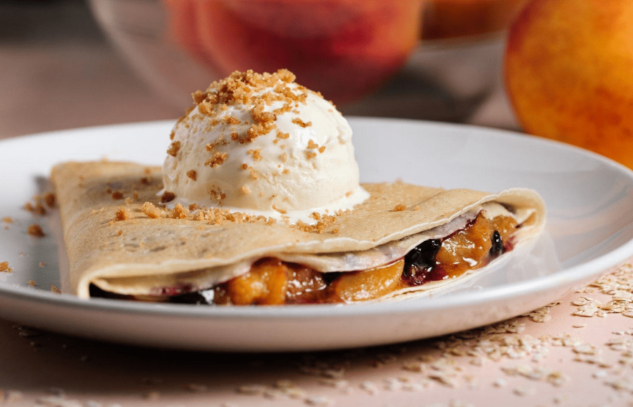 a crepe with an ice-cream on top