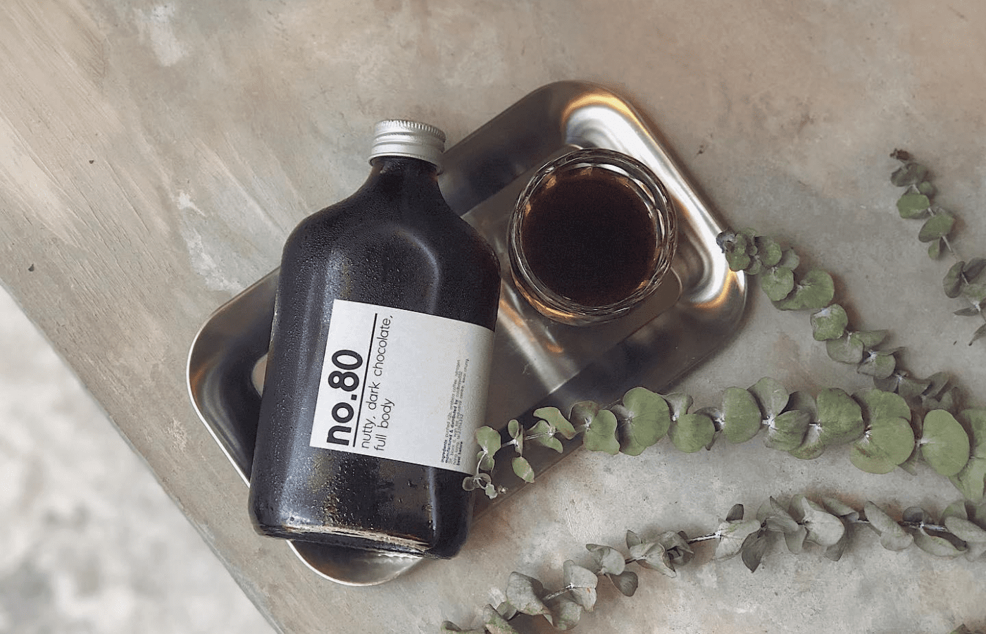 a bottle of coffee on a table